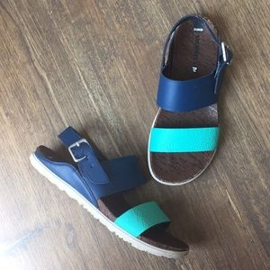 Merrell Around Town Poseidon Blue Leather Sandals